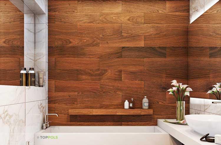 линолеум на стене в ванной