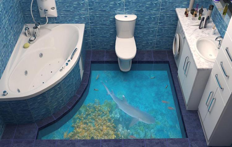 3Д пол в ванной с имитацией моря