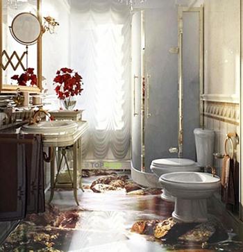 стильные 3Д полы в ванной