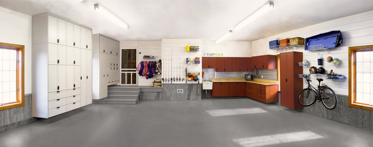 серый резиновый пол в гараже
