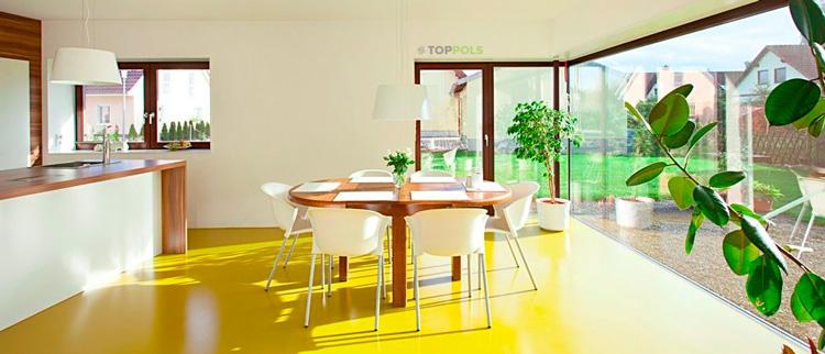 яркий желтый линолеум на полу