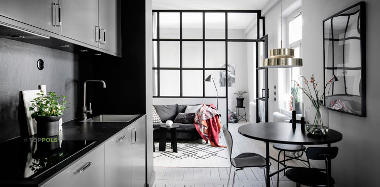 кухонная зона в серых тонах