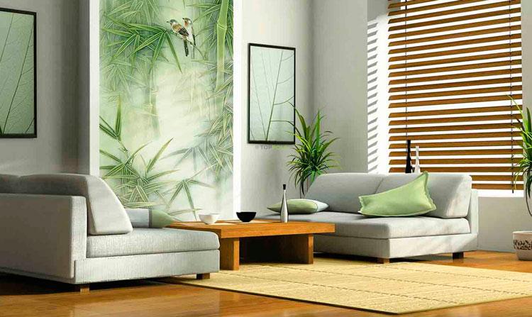 бамбуковый ковер в зеленом интерьере