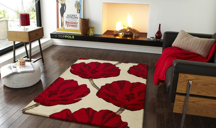 ковер с красными цветами