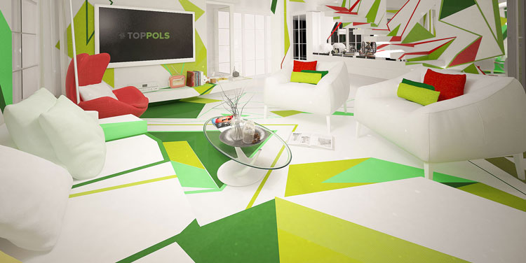 сочный зеленый интерьер