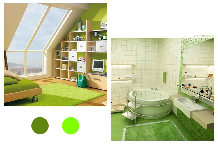 зелено-салатовый интерьер