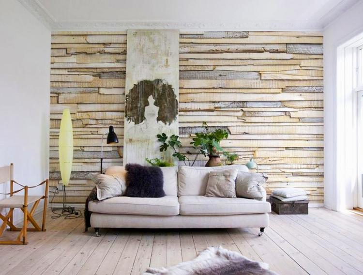 деревянный паркет на стене