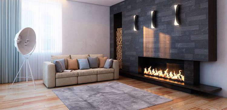минималистичный интерьер с камином