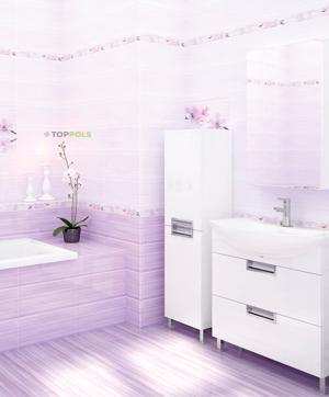 сиреневый кафель в ванной