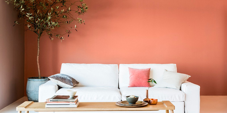 пастельный оранжевый интерьер